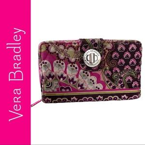 Vera Bradley Turn Lock Wallet Very Berry Paisley